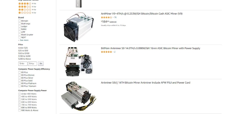 Bitcoin miners for sale on Amazon